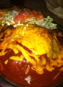 Stacked enchilada dream with New Mexico Red Chile
