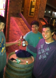 The boys toast with their sodas from Rocket Fizz on a cool Spring night in Boulder, CO
