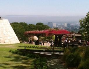 View of the city over the top of the garden at the Getty Center